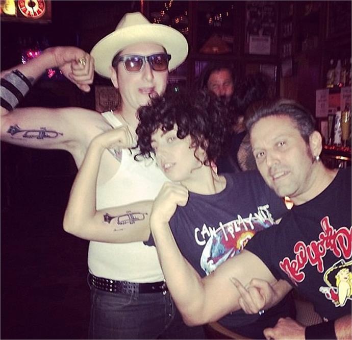 Lady Gaga's trumpet matches Brian Newman's.