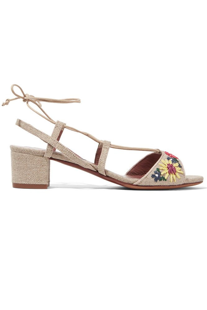 "<a href=""https://www.net-a-porter.com/au/en/product/675739/Tabitha_Simmons/lori-meadow-floral-embroidered-linen-sandals"">Sandals, $752, Tabitha Simmons at net-a-porter.com</a>"