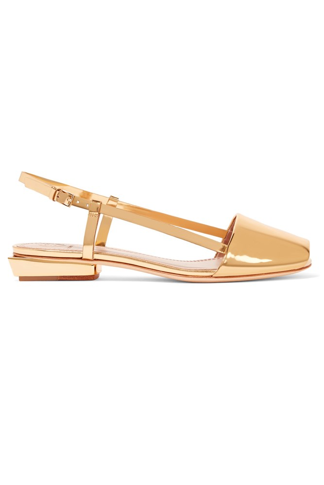 "<a href=""https://www.net-a-porter.com/au/en/product/682486/Tory_Burch/pietra-mirrored-leather-sandals"">Sandals, $394, Tory Burch at net-a-porter.com</a>"