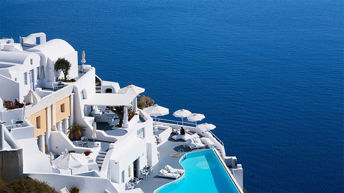 "<p> <a href=""http://www.katikieshotelsantorini.com/"">Katikes Hotel, Oia, Santorini, Greece</a><p> <p> Situated on one of the most idyllic islands in the world, Katikes Hotel is legitimately insta-feed goals. There is a host of different suites to choose from, all are super luxe and all have breathtaking views."