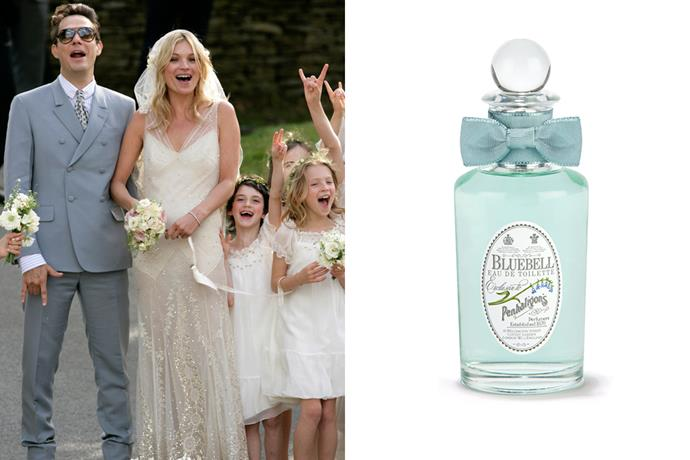 """<strong>Kate Moss</strong><br> Said to be """"evocative of wet earth, moss and rain"""", this scent was the perfect fit for Moss' Cotswolds nuptials to Jamie Hince. <br><br> <a href=""""http://www.libertineparfumerie.com.au/product/bluebell/"""">Bluebell EDT, $199 for 100ml, Penhaligon's</a>"""