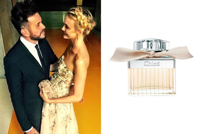 """<strong>Caroline Trentini</strong><br> The model wore a trusty favourite for her 2012 wedding, Chloé's signature EDP. <br><br> <a href=""""http://www.myer.com.au/shop/mystore/chloe-signature-edp"""">Signature EDP, $130 for 50ml, Chloé</a>"""