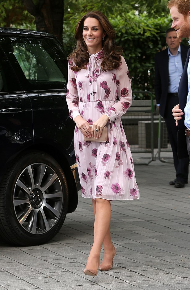 For a recent engagement Kate wore this floral Kate Spade New York 'Encore Rose' dress, with nude heels and a clutch. The dress, which is bound to sell out soon, retails for $650.