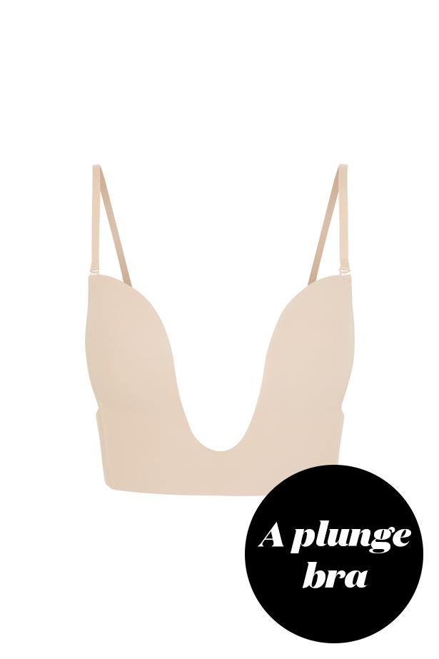 "<p> Try an equally as plunging bra. Bras like this one are usually seamless and provide a subtle lift, without giving the appearance of lines.<p> <p> <a href=""https://www.net-a-porter.com/au/en/product/458586/fashion_forms/seamless-u-plunge-bra"">Bra, $46, Fashion Forms at net-a-porter.com.</a>"