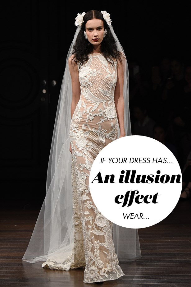 <p> If your dress has an illusion effect, ask the designer or retailer for the perfect slip, as it will—more often than not—accompany the dress.