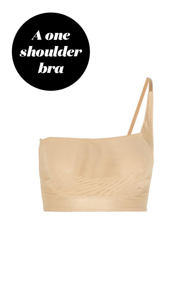 "<p> Try a one-shouldered bra. Adjustable ones like these are clever as they allow you to carefully mask the strap depending on the dress' specific shape. <p> <a href=""https://www.net-a-porter.com/au/en/product/417347/dmondaine/ava-adjustable-one-shoulder-bra"">Bra, $109, dMondaine at net-a-porter.com.</a>"