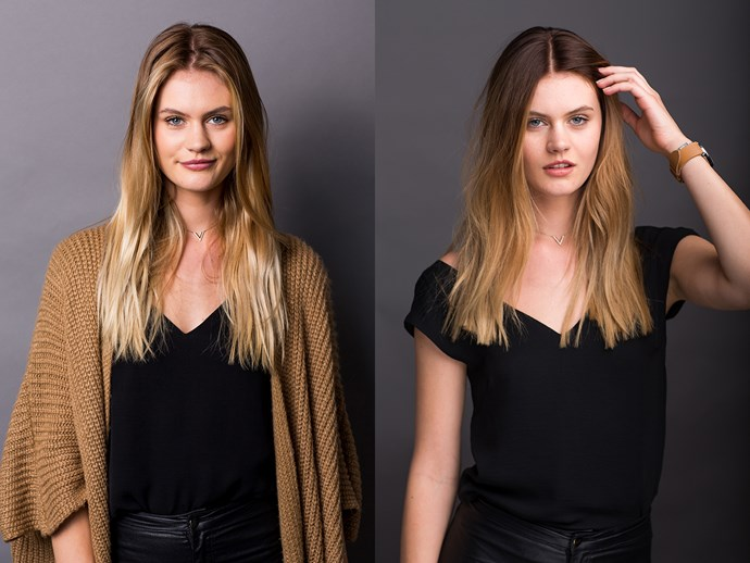 "<p>Jordan went from a blonde to a ""bronde""—her end result was much darker at the roots."