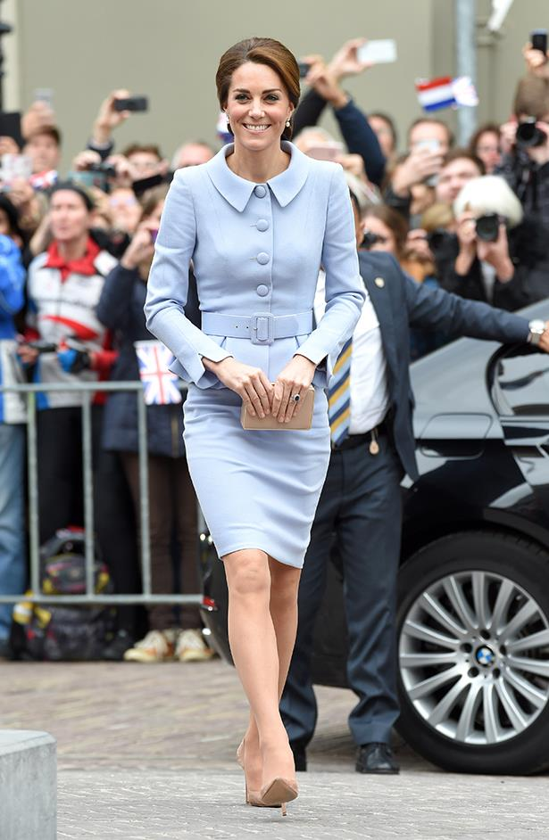 Kate channeled her inner Jackie O whilst in London, wearing a lilac Catherine Walker suit.