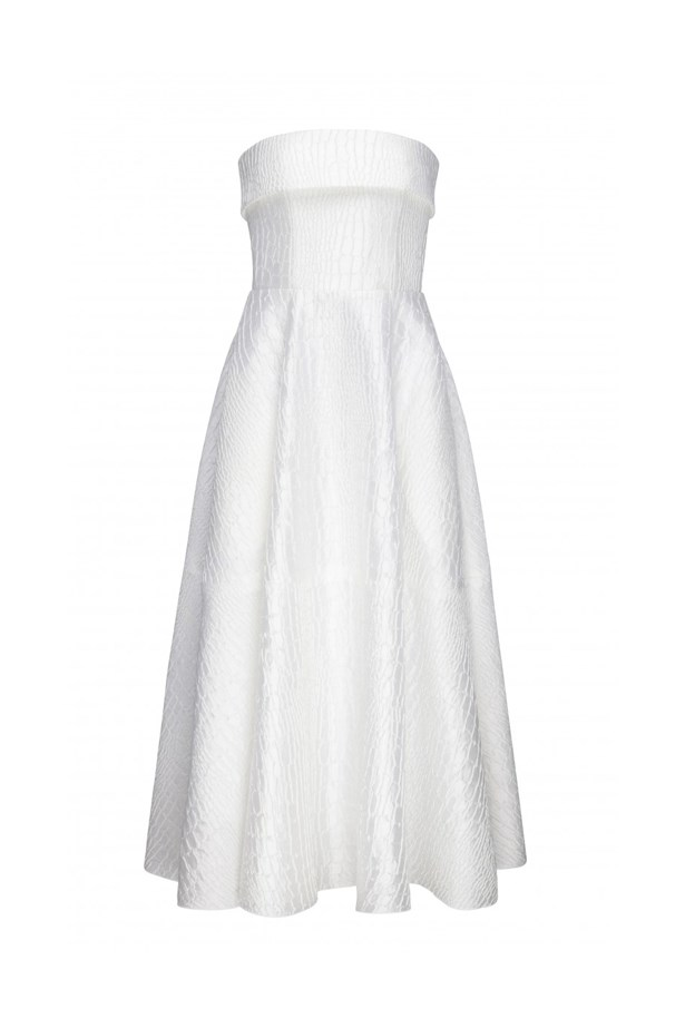 """<p> Firstly, AAMI Victoria Derby Day, Saturday 29th October.<p> <p> Think classic, monochromatic elegance.<p> <p> <a href=""""http://www.myer.com.au/shop/mystore/dresses/faun-silk-reptile-strapless-midi-430916950"""">Dress, $1600, Alex Perry at myer.com.au</a>"""