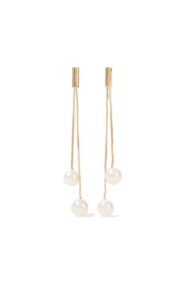 "<p> <a href=""https://www.net-a-porter.com/au/en/product/806364/kenneth_jay_lane/gold-plated-faux-pearl-earrings"">Earrings, $96, Kenneth Jay Lane at net-a-porter.com</a>"