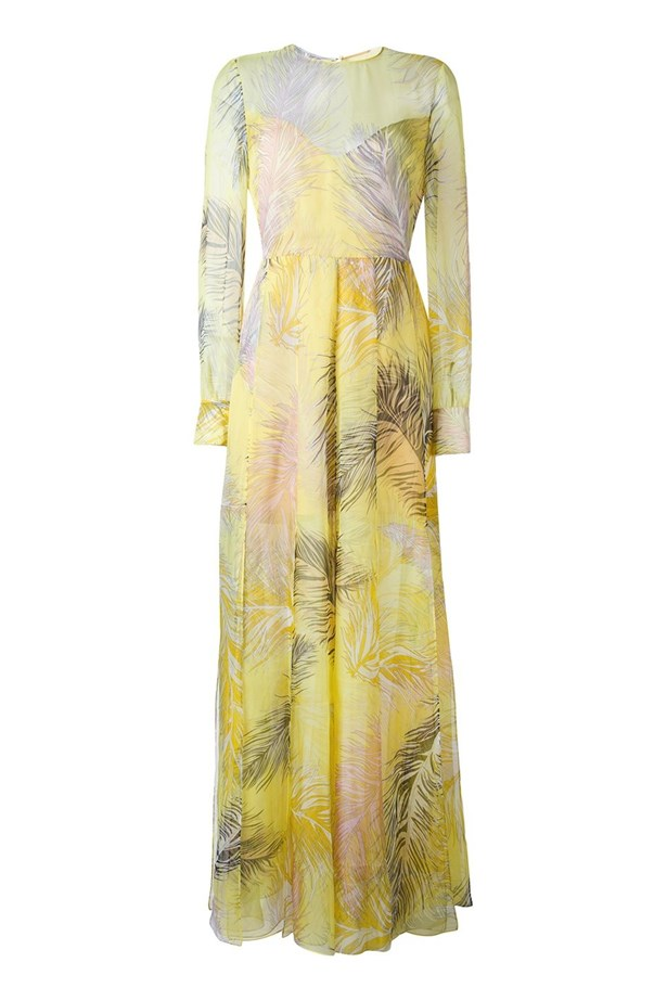 """<p> <a href=""""http://www.myer.com.au/shop/mystore/feather-print-gown-438407920"""">Dress, $4150, Emilio Pucci at myer.com.au</a>"""