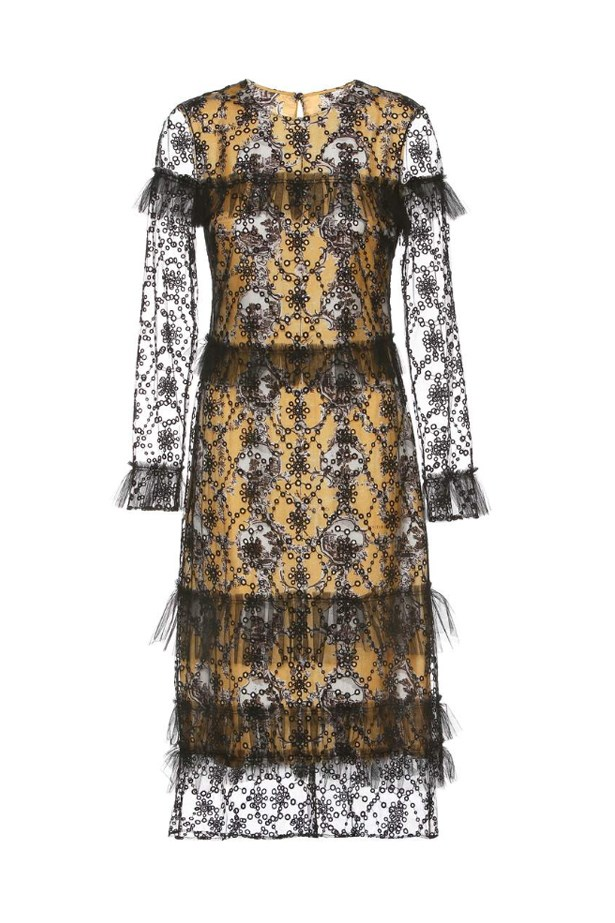 """<p> <a href=""""http://www.mytheresa.com/en-au/printed-dress-with-tulle-overlay-671794.html?catref=category"""">Dress, $3825, Burberry at mytheresa.com</a>"""