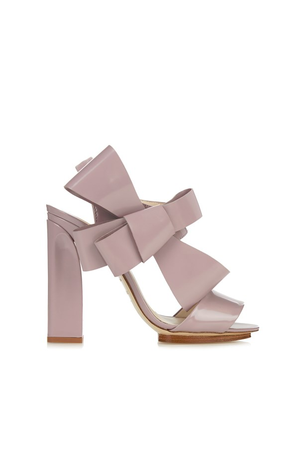 """<p> <a href=""""http://www.matchesfashion.com/au/products/Delpozo-Patent-leather-bow-embellished-high-heel-sandals-1057880"""">Shoes, $1285, Delpozo at matchesfashion.com</a>"""