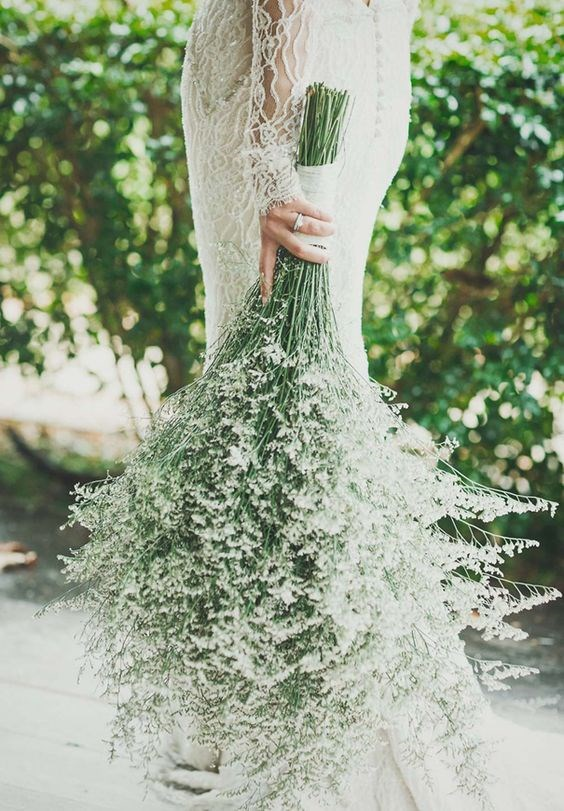 "<p> <em>Baby's Breath</em><p> <p> Baby's breath is usually relegated to being a secondary flower—a filler or a decoration, but a new trend is seeing it take centre stage. Keep the flower's long stems and bind it together for a sweet, whimsical posey.<p> <p> <a href=""https://au.pinterest.com/pin/409686897337297447/"">Image via Pinterest</a>."