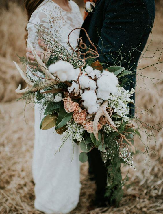 "<p> <em>Cotton</em><p> <p> Cotton may not be a classic choice for bridal bouquets, but it makes for an interesting mix. The stark colour contrast paired with the fluffy texture will ensure your bouquet stands out.<p> <p> Image via <a href=""https://au.pinterest.com/pin/409686897337297962/"">Pinterest</a>."