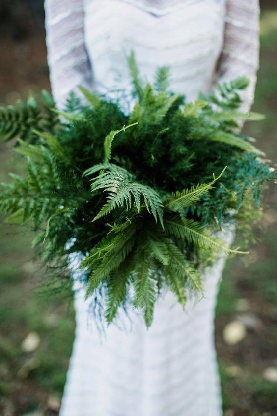 """<p> <em>Fern</em><p> <p> If your wedding is near a forest, a fern bouquet is a sweet and unique option.<p> <p> Image via <a href=""""https://au.pinterest.com/pin/409686897337297720/"""">Pinterest</a>."""