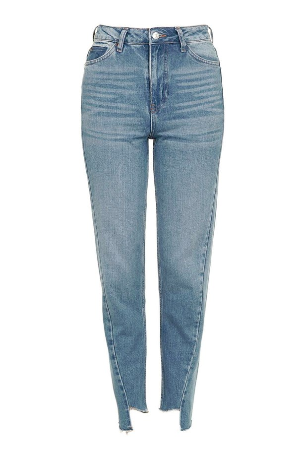 "Jeans, $72, <a href=""http://www.topshop.com/en/tsuk/product/moto-seam-detail-mom-jeans-5764531?bi=0&ps=20&Ntt=stepped"">Topshop</a>."