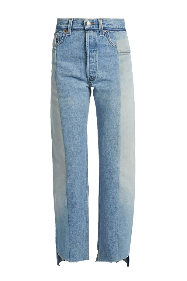 "Jeans, $1,421, <a href=""http://www.matchesfashion.com/au/products/Vetements-Reworked-high-rise-straight-leg-jeans-1065801"">Vetements at matchesfashion.com</a>."