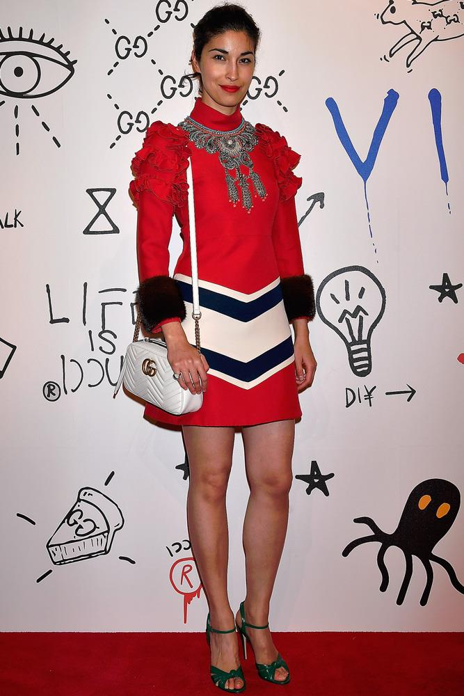 Caroline Issa in head-to-toe Gucci at the brand's '4 Rooms' opening event in Tokyo.