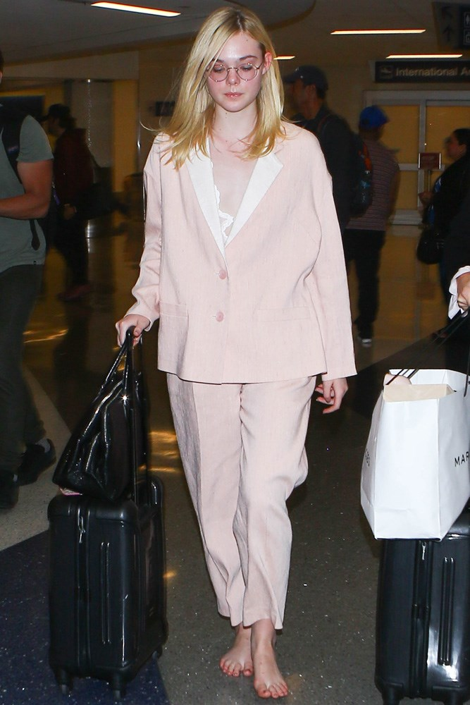 Elle Fanning makes a second appearance on our best-dressed list, if only for her disregard for footwear.