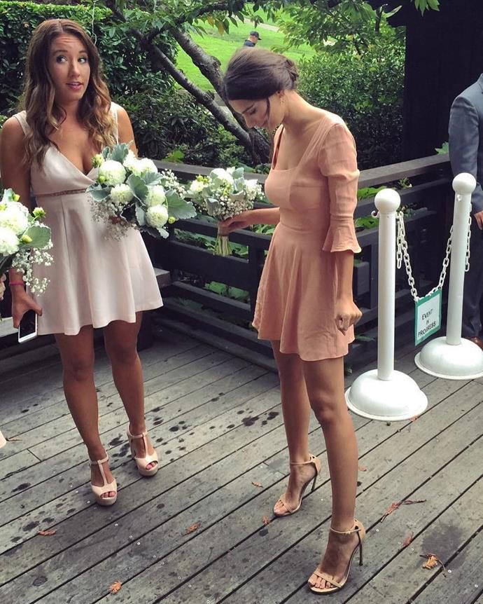 **Emily Ratajkowski** <br><br> While she preferred her wedding ceremony to be without, Ratajkowski loves supporting her closest friends by playing bridesmaid, in a sweet pink dress that she designed herself.