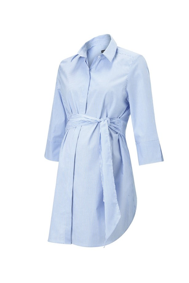 "<p> Keep your work attire clean and crisp (and your comfort levels at maximum) with a simple cotton button-up - with a twist. <p> <a href=""https://www.isabellaoliver.com/us/shop/maternity-clothes/maternity-tops/dora-maternity-shirt-blue-white-stripe.htm#fullscreen-image-2"">Shirt, $190, Isabella Oliver.</a>"