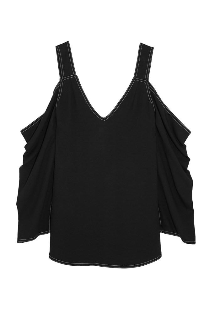 """<a href=""""https://www.net-a-porter.com/au/en/product/757496/Beaufille/mab-cutout-pique-blouse"""">Blouse, $448, Beaufille at net-a-porter.com</a>"""