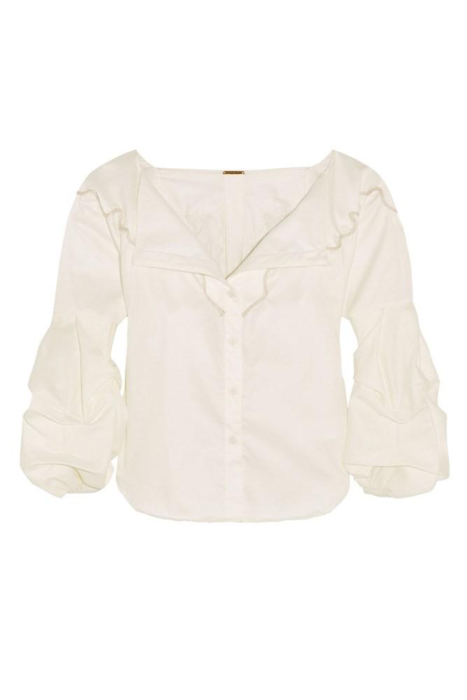 "<a href=""https://www.net-a-porter.com/au/en/product/762172/Johanna_Ortiz/anna-beth-embroidered-cotton-twill-shirt"">Shirt, $760, Johanna Ortiz at net-a-porter.com</a>"