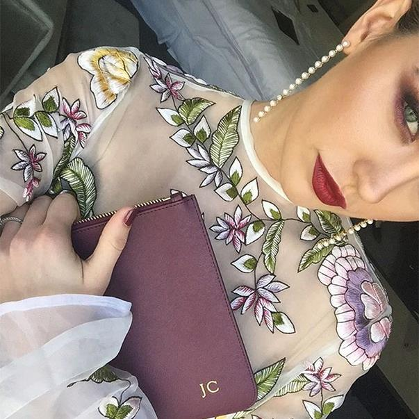 """<p>Jesinta Campbell looked flawless in a Rachel Gilbert dress, Dolce & Gabbana crown and  personalised clutch at the Caulfield Cup. <p><a href=""""https://www.instagram.com/p/BLkE_lFlHsW/"""" target=""""_blank"""">Instagram.com/jesinta_campbell</a>"""
