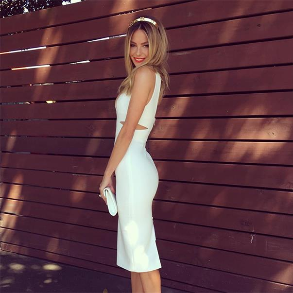 """<p>Jennifer Hawkins looked white hot in an Alex Perry dress when she attended Stakes Day. <p><a href=""""https://www.instagram.com/p/BKcjqY4hqyD/"""">Instagram.com/jenhawkins_</a>"""