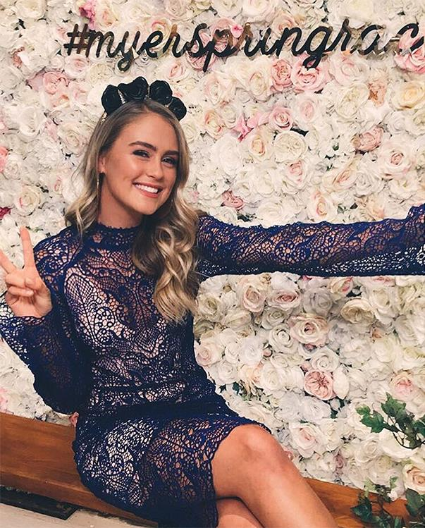 """<p>Steph Claire Smith wore a White Suede dress and Natalie Bikicki headpiece for a Myer Night of Style event. <p><a href=""""https://www.instagram.com/p/BLf57r5hfnM/"""">Instagram.com/stephclairesmith</a>"""