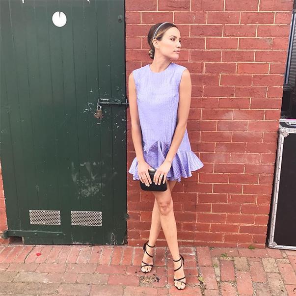 "<p>Rachael Finch's Caulfield Cup Day look was an Alex Perry dress, Viktoria Novak headpiece and Kurt Geiger shoes. You can't even tell she's pregnant! <p><a href=""https://www.instagram.com/p/BLkfQSTDNQR/"">Instagram.com/rachael_finch</a>"