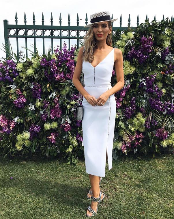 """<p>Nadia Bartel mixed white with metallics at the Caulfield Cup. She wore a Dion Lee Dress, Suzy O'Rourke hat and Christian Louboutin shoes. <p><a href=""""https://www.instagram.com/p/BLmXnKMgPxi/"""">Instagram.com/nadiabartel</a>"""