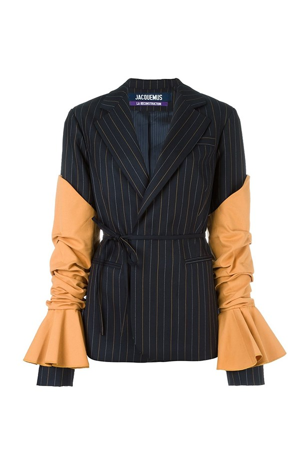 "<a href=""https://www.farfetch.com/au/shopping/women/jacquemus-striped-wrap-blazer-item-11542673.aspx?storeid=9689&from=listing&rnkdmnly=1&tglmdl=1&ffref=lp_pic_14_5_"">Blazer, $954, Jacquemus at farfetch.com.</a>"