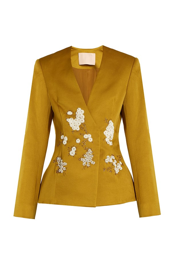 "<a href=""http://www.matchesfashion.com/products/Brock-Collection-Jaynce-embellished-cotton-blend-jacket-1064480"">Blazer, $4397, Brock Collection at matchesfashion.com.</a>"