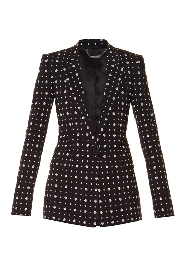 "<a href=""http://www.matchesfashion.com/products/Givenchy-Micro-geometric-print-tailored-jacket-1057353"">Blazer, $3363, Givenchy at matchesfashion.com.</a>"