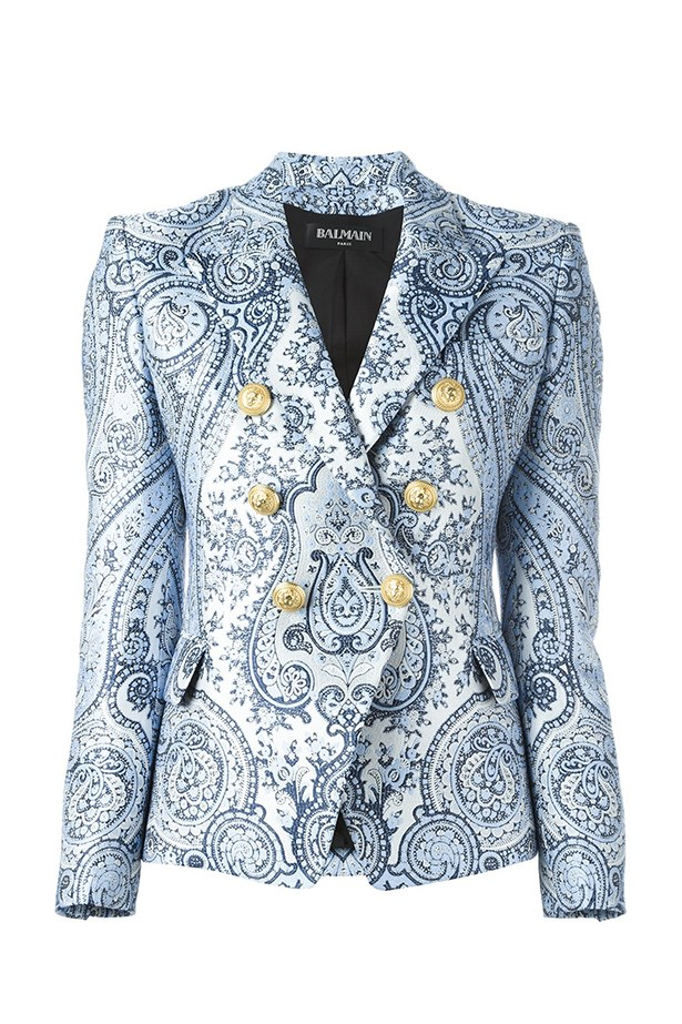 "<a href=""https://www.farfetch.com/au/shopping/women/balmain-paisley-double-breasted-blazer-item-11540054.aspx?storeid=9306&from=listing&rnkdmnly=1&tglmdl=1&ffref=lp_pic_3_6_"">Blazer, $4275, Balmain at farfetch.com.</a>"