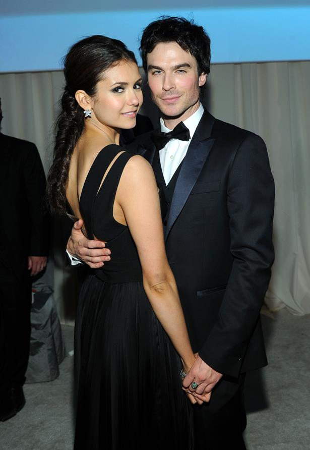 <p> Nina Dobrev and Ian Somerhalder <p> Nina and Ian dated while they filmed their show <em>The Vampire Diaries</em>, but broke up shortly after. Although it was never confirmed, their break-up was allegedly the reason Nina chose to leave the show.