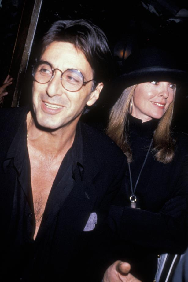 <p> Al Pacino and Diane Keaton <p> Al and Diane's on-again, off-again relationship ended for good during the filming of <em>The Godfather Part II</em>. They filmed <em>The Godfather Part III</em> together after that.