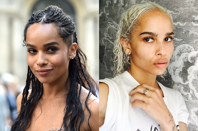 """<strong>Zoë Kravitz</strong> <br><br>Zoë has switched from the dark side to platinum blonde. She shared the results of her recent dye job <a href=""""https://www.instagram.com/p/BL6kib3hiSt/"""" target=""""_blank"""">on Instagram</a>, writing, """"Blond like Frank,"""" and gave a shout-out to her hair colourist."""