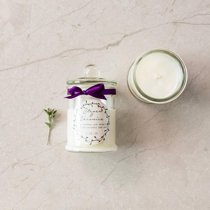 """<p> Candles<p> <p> It might be a pain of a process, but little candles—perhaps infused with the scent of your wedding flowers or of your wedding perfume—are a great and practical gift. <p> Via <a href=""""https://www.customfavours.com.au/collections/candles/products/danube-jar-soy-candle-with-sticker-ribbon"""">Custom Favours</a>."""