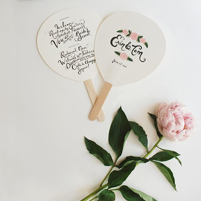 """<p> Fans<p> <p> If you've planned a summertime wedding and have the feeling your guests will be getting a little hot under the collar, a fan (which can also double as a program) is a good way to go. <p> <a href=""""http://riflemade.squarespace.com/blog/2009/6/1/erin-toms-wedding-fans.html"""">Via Rifle Paper Co</a>."""