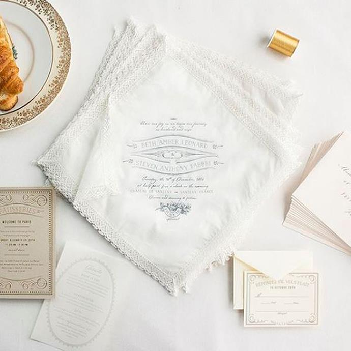 """<p> Handkerchiefs<p> <p> Whether embroidered with just your initials, a love poem or even a cheeky note, dreamy handkerchiefs are a keepsake that will last. <p> <a href=""""https://lucky-luxe.com/"""">Via Lucky Luxe</a>."""