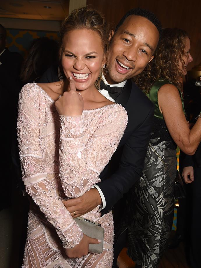 "<p>John and Chrissy did a <a href=""http://adrinkwith.com/chrissyteigen-johnlegend/"" target=""_blank"">joint interview over a drink</a> (is there any better way to do an interview?) after they had been married for six months, and when they were asked about why famous couples don't tend to last, John said, ""I think a lot of it is because when you're in our position you're used to having everything you want right away and not having to compromise. I think some people don't want to put in the work during the hard times to make it work."" Chrissy responded, ""The short marriages thing is just insane to me. I mean, I can't even imagine ever not being with you now."" John then said, ""Right, I can't imagine my life without you either. I have reached the pinnacle of the perfect girl for me… You really just have to decide that you're not going to get divorced and then make it work."""