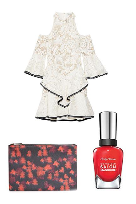 """Derby day is all about monochrome elegance. Team an ivory and black-trimmed lace dress with a floral clutch and classic cherry red nails. <br><br>Dress, $1,286, <a href=""""https://www.net-a-porter.com/au/en/product/818087/rebecca_vallance/the-society-ruffled-guipure-lace-mini-dress"""">Rebecca Vallance at Net-a-Porter</a> Pouch clutch, $367, <a href=""""http://www.matchesfashion.com/au/products/Givenchy-Classic-Floral-print-pouch-1057061"""">Givenchy at Matches Fashion</a> Complete Salon Manicure in All Fired Up, $14.95, <a href=""""https://au.sallyhansen.com/nails/nail-color/color/complete-salon-manicure"""">Sally Hansen</a>"""