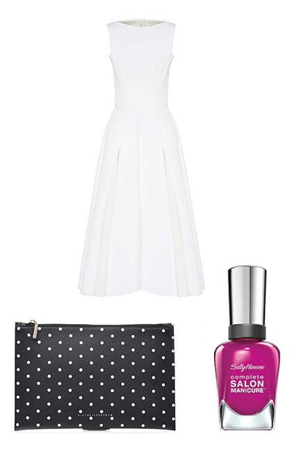 """If you're opting for an all-white ensemble and monochrome accessories, inject a pop of colour to your nails with an orchid pink polish. <br><br>Dress, $2,700, <a href=""""http://www.myer.com.au/shop/mystore/s17-spring-racing-dresses/maticevski-kindred-spirit-dress"""">Maticevski at Myer</a> Clutch, $320, <a href=""""http://www.stylebop.com/au/product_details.php?id=687268"""">Victoria Beckham at Stylebop</a> Complete Salon Manicure in Cherry, Cherry, Bang, Bang, $14.95, <a href=""""https://au.sallyhansen.com/nails/nail-color/color/complete-salon-manicure"""">Sally Hansen</a>"""