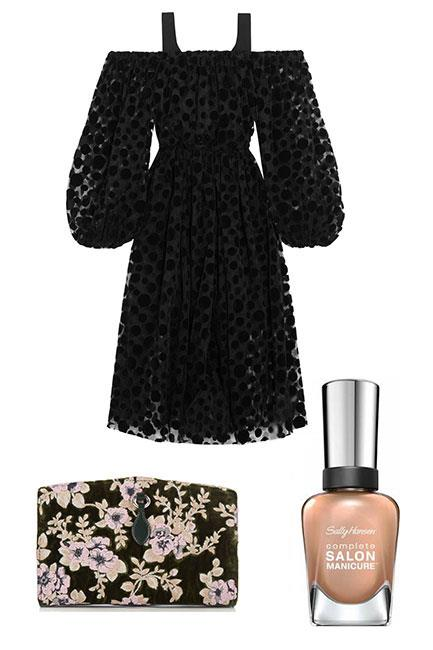 """An LBD is a classic pick. Add some statement details such as a floral clutch, embellished headband and gold-tipped nails. A chic take on the French manicure. <br><br>Dress, $897, <a href=""""https://www.net-a-porter.com/au/en/product/758518/paskal/polka-dot-flocked-tulle-dress"""">Paskal at Net-a-Porter</a> Clutch, $1,695, <a href=""""http://www.matchesfashion.com/au/products/Rochas-Floral-embroidered-velvet-clutch-1065730"""">Rochas at Matches Fashion</a> Complete Salon Manicure in You Glow, Girl!, $14.95, <a href=""""https://au.sallyhansen.com/nails/nail-color/color/complete-salon-manicure"""">Sally Hansen</a>"""