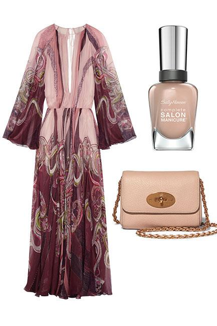 """A statement, silk gown is a great option for the biggest day on the spring racing calendar. Again, keep things simple with nude accessories and a creamy, nude manicure. <br><br>Dress, $5,744, <a href=""""https://www.net-a-porter.com/au/en/product/754785/roberto_cavalli/open-back-printed-silk-chiffon-gown"""">Roberto Cavalli at Net-a-Porter</a> Shoulder Bag, $875, <a href=""""https://www.net-a-porter.com/au/en/product/718294/mulberry/lily-mini-textured-leather-shoulder-bag"""">Mulberry at Net-a-Porter</a> Complete Salon Manicure in Café Au Lait, $14.95, <a href=""""https://au.sallyhansen.com/nails/nail-color/color/complete-salon-manicure"""">Sally Hansen </a>"""