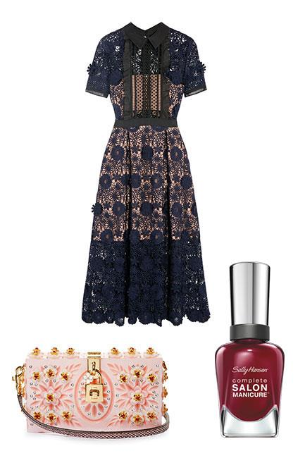 """Lace detailing is always a winner for Crown Oaks Day. Play up the feminine dress code with embellished accessories and add a little edge with oxblood nails. <br><br>Dress, $506, <a href=""""https://www.net-a-porter.com/au/en/product/781697/self_portrait/camilla-chiffon-trimmed-guipure-lace-dress"""">Self-Portrait at Net-a-Porter</a> Clutch, $5,668, <a href=""""http://www.matchesfashion.com/au/products/1069321?country=AUS"""">Dolce & Gabbana at Matches Fashion</a> Complete Salon Manicure in Red Zin, $14.95, <a href=""""https://au.sallyhansen.com/nails/nail-color/color/complete-salon-manicure"""">Sally Hansen</a>"""