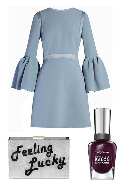 """Pastels are another great pick for Oaks Day, which is traditionally known as Ladies Day. Accessorise block colours with fun clutches and metallic heels. Vampy nails will lend a chic finish. <br><br>Dress, $1,685, <a href=""""http://www.matchesfashion.com/au/products/Roksanda-Margot-bell-sleeved-cady-dress-1078726"""">Roksanda at Matches Fashion</a> Clutch, $149, <a href=""""http://shop.davidjones.com.au/djs/en/davidjones/feeling-lucky-acrylic-pod-clutch"""">Olga Berg at David Jones </a> Complete Salon Manicure in Pat on the Black, $14.95, <a href=""""https://au.sallyhansen.com/nails/nail-color/color/complete-salon-manicure"""">Sally Hansen</a>"""